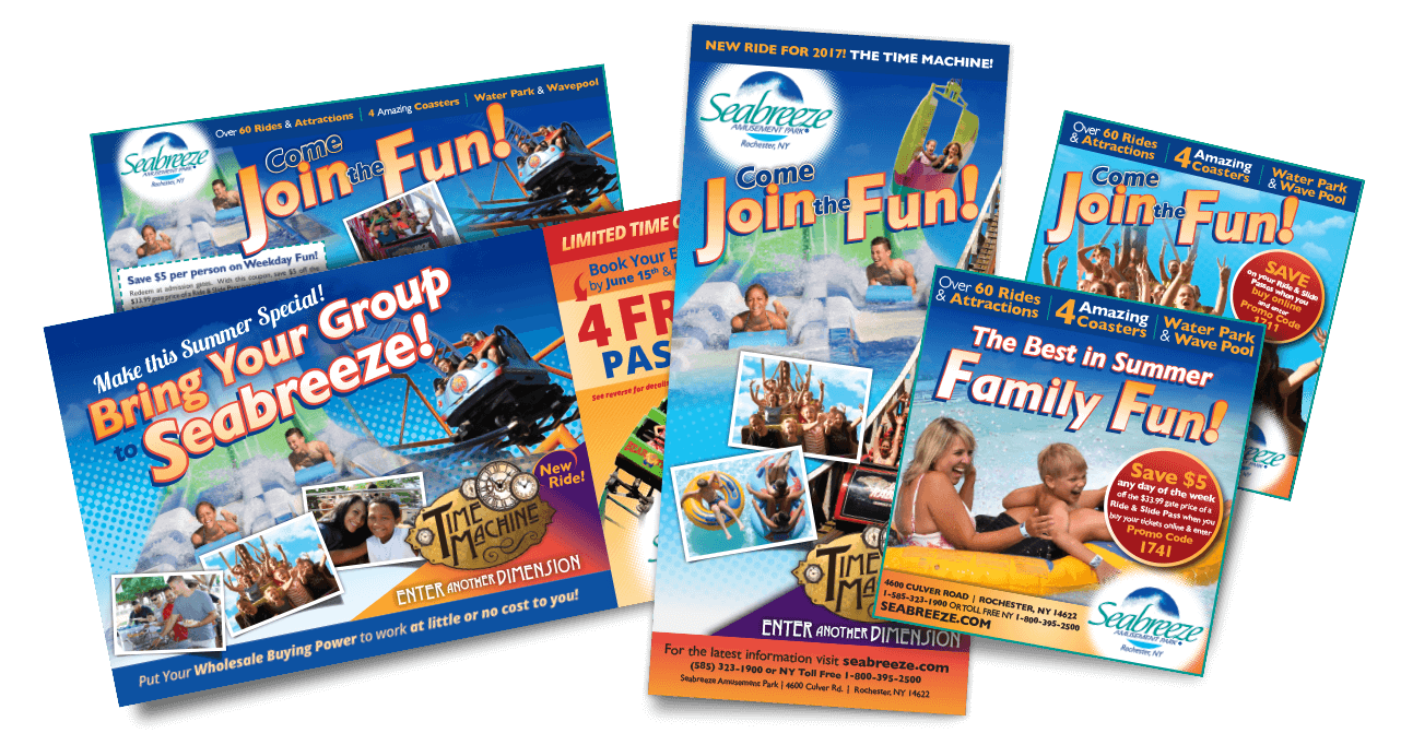 Seabreeze Amusemente Park. Brochures, Print Marketing Materials