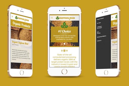 Sheppard Grain across three mobile devices on a yellow background.